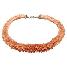 Rare!  Stunning Woven Lei Style Angel Skin Carved Coral Flower Necklace