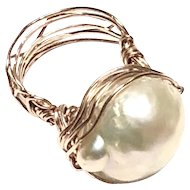 Hand Sculpted Champagne Baroque Pearl Ring 14K Rose Gold Filled