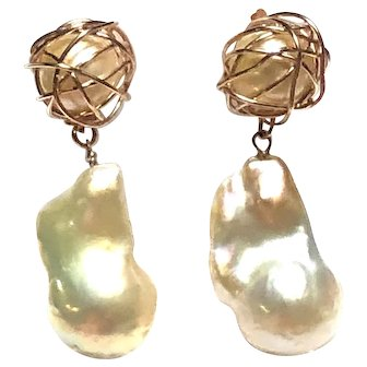Champagne Gold Baroque Pearl Earring with Wrapped Pearl 14K Rose Gold Filled