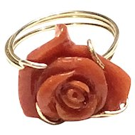 10ct Carved Rose Red Italian Coral Ring Size 6 14K 1/20 gold filled