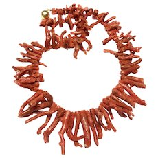 "Chunky Raw Mediterranean Red Coral Branch Necklace 18"" 93 grams"