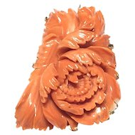 100ct Large Salmon Coral Deeply Carved Peony Flower Brooch Pin Pendant