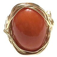Custom Made 14K Gold 10 Carat 13x18mm Salmon Italian Coral Oval Cabochon Ring
