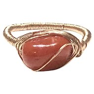 Red Italian Hand Wrapped Ring rose gold filled Size 7 1/4