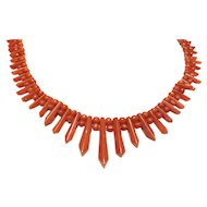 Antique Picket and Berries Red Coral Necklace