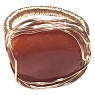 Hand Sculpted Red Italian Coral Nugget Cabochon Ring Gold Filled Size 6