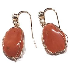 Red Italian Coral Nugget Cabochon Earring Gold Filled