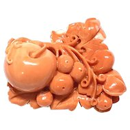 Spectacular 200 Carats Large Vintage Carved Coral Grape Vines Brooch Salmon Color