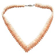 """Vintage Woven 5 Rows Angel Skin Coral Necklace V Shape 14"""" Collar Choker"""