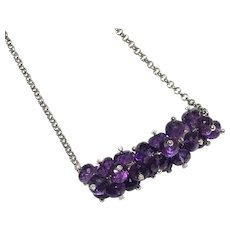 50 Carats Amethyst Cluster Necklace Sterling Silver