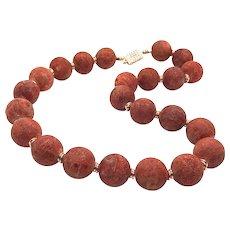 "20"" 18mm Natural Red Apple Sponge Coral Necklace"