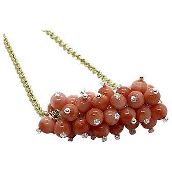 Angel Skin Pink Coral Cluster Bar Necklace Crystal Sterling Silver And Matte Gold