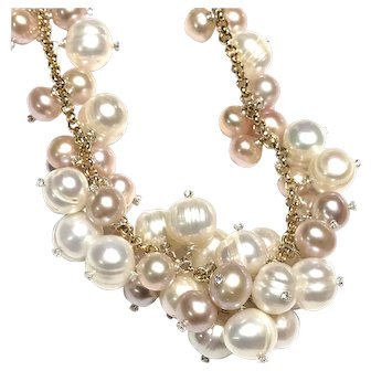 Pink and White Pearl Cluster Necklace with Crystal Sterling Head Pins