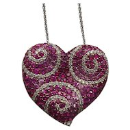 Diamond & Sapphire Heart Pendant, 18 Karat Gold Necklace, Appraised $3750.00