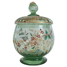 MOSER Enameled Art Glass Candy Dish, Prunt Finial, c. 1885