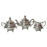 W. Gale New York COIN Silver 3-Piece Tea Set, c. 1830-1850