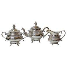 W. Gale New York COIN Silver 3-Piece Tea Set, c. 1830-1850