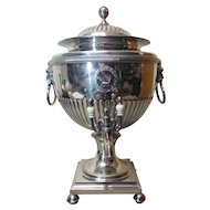 "Old Sheffield Plate (OSP) 17.5"" Hot Water Urn on Stand, Armorial, c. 1800"