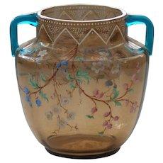MOSER Topaz Enameled Art Glass Vase with Blue Glass Handles, c. 1880's