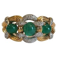 18 Karat Gold Emerald & Diamond Bangle Bracelet, Actress THELMA PARR Estate