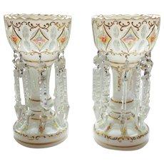 Bohemian Art Glass Mantle LUSTRES / LUSTERS Pair, c. 1885