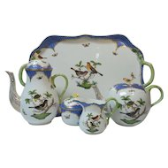 Herend ROTHSCHILD BIRD BLUE Coffee, Tea Service with Tray, 5 Pieces