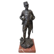 19th C. Antique French Bronze Soldier Sculpture, Signed G. OMERTH, FRANCE
