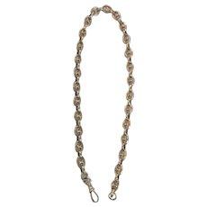 "9 Karat Rose Gold Heavy English Pocket Watch Chain, 15"""
