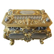 ERHARD & SOHNE Jewelry Box / Casket, Gilt Bronze & Nickle Silver