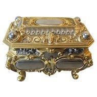 ERHARD & SOHNE Jewelry Box / Casket, Gilt Bronze & Nickle Silver