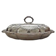 19th C. Embossed Silver Plate OVAL Lidded VEGETABLE Buffet Bowl or Dish, c. 1840-1893