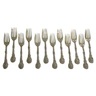 Set/12 Gorham Sterling Silver Salad Dessert Forks, c. 1875-1900, 400 grams