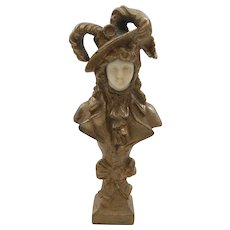 French Miniature Bronze Art Nouveau Lady Sculpture, signed Bailey