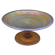 L. C. Tiffany FAVRILE Gold Iridescent Art Glass Compote / Tazza