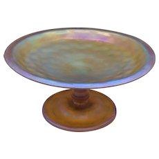 L. C. Tiffany FAVRILE Gold Iridescent Art Glass Compote / Tazza