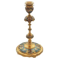 F. BARBEDIENNE Gilt Bronze Champleve Enamel Candle Holder Candlestick