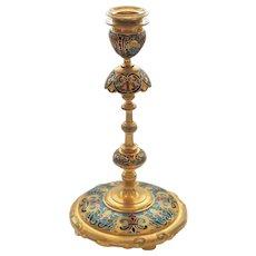 F. BARBEDIENNE Gilt Bronze Champleve Enamel Candle Holder Candlestick