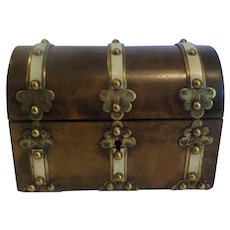 19th C. English Dome Top Wood Card File Box, Engraved Brass Trim