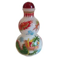 Chinese QING DYNASTY Peking Glass Snuff Bottle, Enameled Dragons