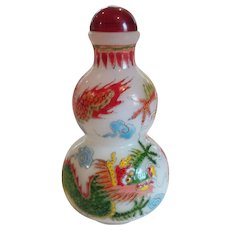 Chinese QING DYNASTY Peking Glass Snuff Bottle, Enameled Dragons