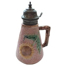19th C. Griffin, Smith & Hill ETRUSCAN Majolica SUNFLOWER Pewter Top Syrup Pitcher