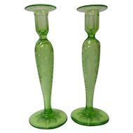 "Pair Pairpoint Engraved Cut Crystal 10.5"" Candlesticks, Fluorescent Green"