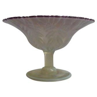 L. C. Tiffany FAVRILE Lavender PASTEL Art Glass Compote