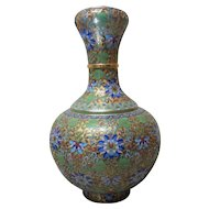 "Unusual Chinese Cloisonne Enamel 12"" Garlic Head Vase, Gilt Open Work Background"