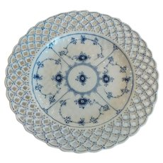 "Royal Copenhagen BLUE FLUTED 10"" Pierced Edge Plate #1098, c. 1955"