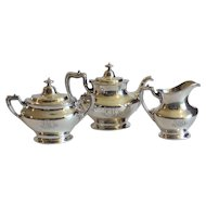 Elegant Gorham Sterling Silver 3-Piece Tea Set, 1135 grams