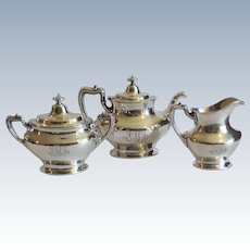 Elegant Gorham Sterling Silver 3-Piece Tea Set, 1135 grams