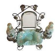 19th C. French PALAIS ROYAL Scent Caddy, Opaline Bottles