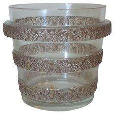 Lalique RICQUEWIHR L'AVA Raisins Grape Rinse, Vase or Ice Bucket, Sepia Patina/Staining