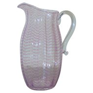 Libbey Nash Art Glass Pitcher, Violet Internal Pattern, c. 1930's